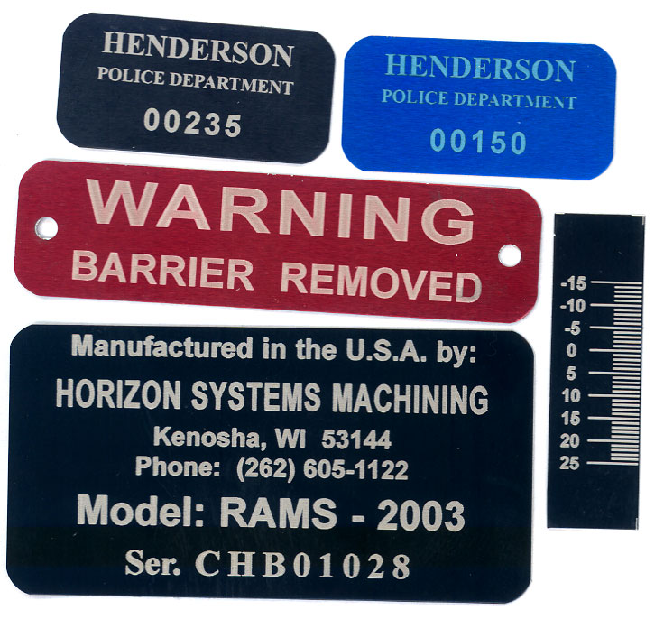 Industrial engraving tags